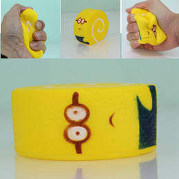 Wholesale wholesale minion toys - 10cm Squishy Minions Yellow Egg Rolls Jumbo Swiss Roll Squeeze Toy Slow Rising Reduce Stress Key Phone Strap Squishies Toys AAA266