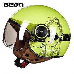 Capacete de frente aberto de motocicleta scooter on-line-Chegam novas BEON capacete da motocicleta scooter Vintage rosto aberto Retro E-bike ECE aprovado homens mulheres capacetes de moto