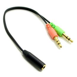 2019 konverter audio-mikrofon Smartphone Headset zu PC Adapter Kabel 3,5 mm zu Dual 3,5 mm Audio Kabel Laptop Kopfhörer Mikrofon MIC 2 in 1 Konverter rabatt konverter audio-mikrofon