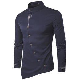 2017 Moda Hombre Camisa de Marca Personalidad Botón Oblicuo Mandarin Collar Hombres Tuxedo Camisas de Manga Larga Para Hombres Tamaño Grande 2XL desde fabricantes