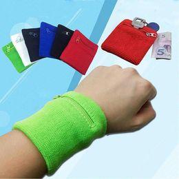 2019 pulseiras de algodão preto Zíper De Pulso Carteira Bolsa Correndo Sports Arm Band Bag Para MP3 Saco de Armazenamento De Cartão Chave Caso Badminton Basquete Pulseira Sweatband