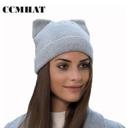 Wholesale Acrylic Balaclava - CCMHAT Cat Ears Skullies Beanies For Women Hat Cap Winter Warm Elasticity Knit Beanie Hat Caps Cotton Balaclava Girls Winter
