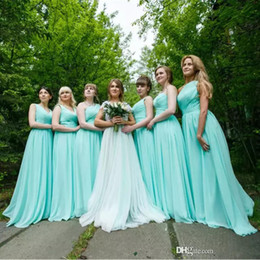Wholesale gray color photo - Pleated Chiffon Country Bridesmaid Dresses Mint Green 2018 Floor Length Wedding Bridesmaid Dress Long Party Dresses