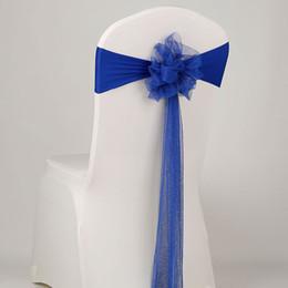 Wholesale wedding chair sashes royal blue - Wholesale Royal Blue Wedding Chair Sashes Organza Bleu Marine Band Wedding Organza Elastic Chair Sashes 4pcs lot