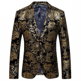 blazers patterns Coupons - Black Gold Blazer Men Paisley Floral Pattern Wedding Suit Jacket Slim Fit Stylish Costumes Stage Wear For Mens Blazers Designs