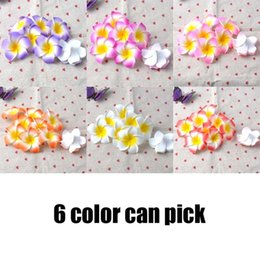 Wholesale foam plates wholesale - New 7cm Hawaii Plumeria Flower with Pearl Foam Hair Accessory Frangipani Hairgrips Hairpin Hair Clips Girl Barrettes