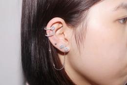 Wholesale 925 China Gold Earrings - 925 Sterling Silver Fashion personality Zircon Ear Clip Single Tassel Earrings Cuff women and girls caught in the ear ear cuffs jewelry