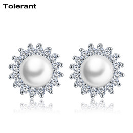 Deutschland 2 stücke Sun form frauen ohrstecker 925 silber große weiße perle dekoration ohrringe runde form mädchen ohrringe schmuck ZES00613 C18111901 supplier pearl round earrings 925 Versorgung