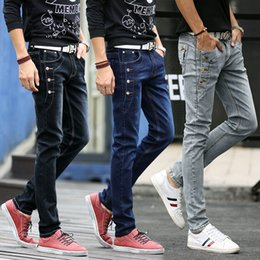 Wholesale Fit Personality - Jeans Men 2018 New Fashion Korean Style High Street Slim Fit Button Personality Vintage Classical Denim Pants Plus Size Trousers