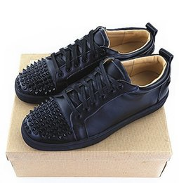 Wholesale Bottom Boat - Top Quality Spikes Mens Pik Boat Flat Red Bottom Leather Dress Wedding Shoes Male Black Gold Sneakers Platform Sport Shoes Espadrilles