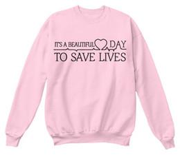 Wholesale Atacado É um belo dia para salvar vidas Greys anatomia camisola Womens camisa de manga longa Tumblr faculdade Crewneck rosa Hoodies