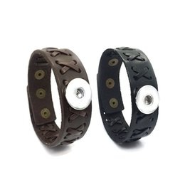 Wholesale Copper Snake Ring - High quality 137 really hand woven Genuine Leather Retro fashion Bracelet 18mm Snap Button Charm Jewelry For Women Gift