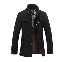Wholesale Men Winter Camel Coat - 2017 High Quality Men Woolen Jacket Coats Thick Black Camel Homme Overcoat Fashion Autumn Winter Warm England Slim Pea Coat