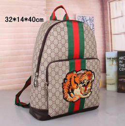 Wholesale Man Satchel Backpack - Fashion Men Women Designer Backpacks 2018 Luxury G Embroidery Tiger head Men Women Rucksack Bag Charms