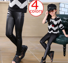 Wholesale Girls Black Leather Pants - INS New Kids Girls Stretchy Leggings Faux PU Leather Elastic Waist Skinny Pants Trousers Tights Black Spring Autumn 4colors choose free ship