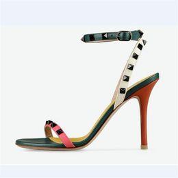 Wholesale Nude Heels Gladiator - Brand Design Rivet Gladiator Sandals Women Open Toe Ankle Strappy Belt Partchwork High Heels Woman Wedding Shoes Summer