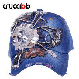 flores do vaqueiro Desconto Alta qualidade 2016 mulheres marca boné de  beisebol moda strass cristal denim c863a875052