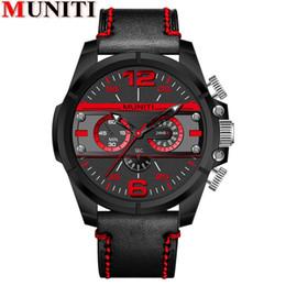 relógios mens relógios Desconto MUNITI moda mens relógio de couro grande mostrador novo design de tendência homens marca ocasional do esporte de negócios de quartzo Elegante relógios de pulso para homens
