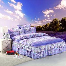 Wholesale Pillowcase Skirt - Wholesale-4 PCS bedclothes Lavender lavender kit king queen size princess bed skirt bedspread bed sheet pillowcase