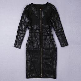 Vollhülse einteilige kleider schwarz online-frauen sexy streifen schwarz patchwork volle hülse promi verbandkleid ein stück vorder reißverschluss partei schlangendruck kleber folie HL1322