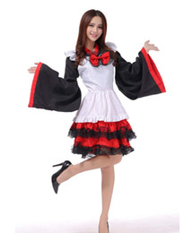 Japão vestido preto on-line-História de Xangai preto vermelho japão quimono cosplay trajes de halloween vestido lolita dress