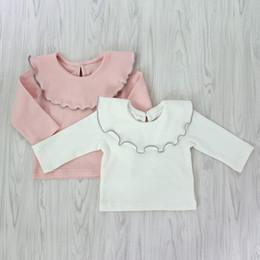 Ins estilo lindo coreano baby girl colmena cuello camiseta de manga larga  de color sólido 100% algodón camiseta suave niños primavera otoño ropa 51826a6df2361