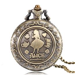 Wholesale Pocket Watch Alice - Retro Bronze Alice in Wonderland Theme Cat Back Design Quartz Fob Pendant Pocket Watch with Necklace Chain for Girls Women