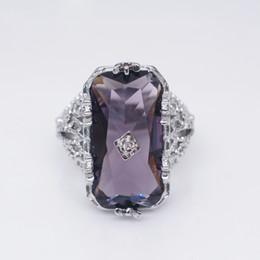 Ретро фиолетовый Кристалл Циркон обручальное кольцо для женщин классический Большой Камень обручальные кольца мода банкет партия ювелирных изделий anillos от