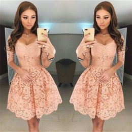 Wholesale Ladies Long Cocktail Dresses - Cheap Ladies Long Sleeve Cocktail Dresses Coral Short Formal Dresses V Neck A Line Knee Length Special Occasion Homecoming Party Gowns