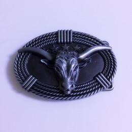 Canada 1 Pcs Ovale 3D Argent Tête De Taureau Hebillas Cinturon Hommes Western Cowboy Boucle De Ceinture En Métal Fit 4cm Large Ceintures Offre