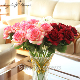 Wholesale Office Table Decorations - 30pcs  Lot 38cm Rose Artificial Flowers Silk Rose Flowers Wedding Decoration For Home Party Hotel Office Garden Table Accessiores