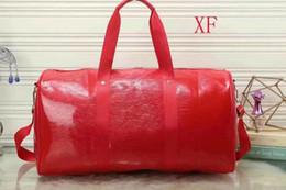 Wholesale Ripple Red - high quality 45CM Water ripple women men luggage travel bag duffle bags red black shoulder bag large handbag purse free shipping