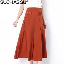 aed9b37f3a5 New Summer Autumn Modal Pleated Skirt Women 2018 Black Red Blue Orange  Button Elastic High Waist S-3XL Female Mid Long Skirt