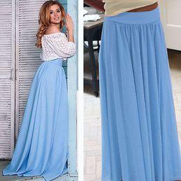 Wholesale Long Denim Skirts Wholesale - Wholesale- Summer Women High Waist Pleated Zipper Sundress Beach Light blue Party Maxi Long Skirt