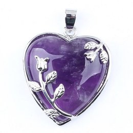 Wholesale Pendant Flower Amethyst - Kraft-beads New Stylish Silver Plated Natural Amethysts Purple Quartz Forever Love Heart With Flower Pendant Fashion Jewelry