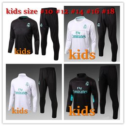 Wholesale Children Training Suit - 2017 2018 Kids Long Sleeve Real Madrid Tracksuit Youth Sport Wear Children Ronaldo training tracksuit Jogging Boys Soccer kit Football Suits