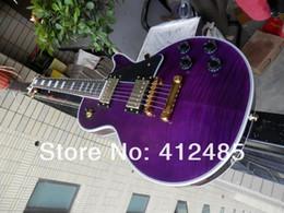 Instrumento musical de madera online-Envío gratis nuevo Custom Shop vos púrpura chibson Guitarra eléctrica instrumentos musicales Caja de espuma de diapasón de madera de Rose