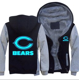 Светящиеся толстовки онлайн-Новый Чикаго медведь толстовка световой команда логотип теплый флис сгущаться куртка молния пальто толстовки кофты Up-to-date куртка