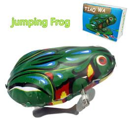 Crianças Clássico Tin Wind Up Clockwork Brinquedos Jumping Frog Vintage Toy Para Crianças Meninos Educacional Frete Grátis Por Atacado cheap wind up tin toy wholesale de Fornecedores de venda por atacado de brinquedos de estanho
