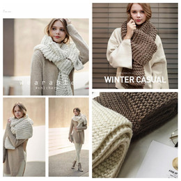 Wholesale Wool Long Scarf - Thick wool handmade crochet scarf female winter thicken long knitted couple knitting unisex warm collar scarf about 195*30cm YYA1087