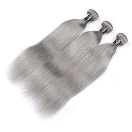 graue remy haarverlängerungen Rabatt Brasilianisches Körperwellen-gerades Haar spinnt graue Farbdoppeleinschlagfäden 100g / pc kann menschliche Remy Haar-Verlängerungen gefärbt werden