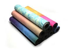 Персонализированные пользовательские йога фитнес продукты натуральный каучук замша печать нескользящей высокой плотности йога коврик оптом от