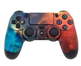 Vídeos laranja on-line-Laranja Azul Galaxy Decalques de Pele de Vinil para PS4 Controladores PVC Gaming Skin Video Game Pad Adesivo