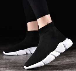 Wholesale Wedding Dress Size 36 - Speed Socks High Quality Speed Trainer Running Shoes Men Sneakers Mid Sneakers Speed Elastic Knit Size Europe 36-44