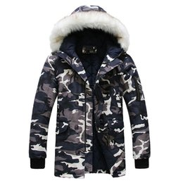 Wholesale military hooded parka - New 2016 Camouflage Down Parkas Jackets Men's Parka Hooded Coat Male Fur Collar Parkas Winter Jacket Men Military Down Overcoat