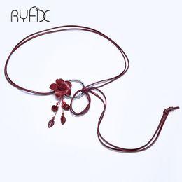 Wholesale Rope Belted Dress - weave Genuine leather wax rope Circle buckle Female Flora Belt For Women decoration Dress coat cummerbunds BL323