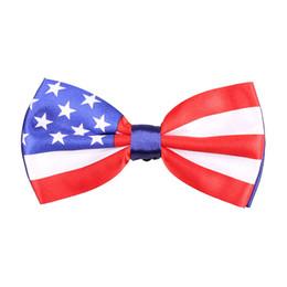 Wholesale Women Prom Suits - Fashion Bow Tie American US Flag Britain UK Flag Printing Men's Ties Women Unisex Party Pub Prom Suit Decoration Bowknot Ties