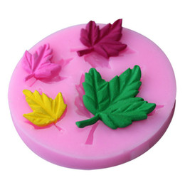Wholesale Silicone Leaf Mold - 4 Hold Cupcake Jelly Candy Chocolate Decoration Autumn 3D Baking Tool Moulds Maple Leaf Silicone Fondant Soap Cake Mold