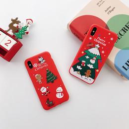 2019 noël iphone santa MIGNON Étui de téléphone pour iPhone 6 6s 7 8 Plus X Mode Mignon de Bande Dessinée Noël Beau Père Noël Elk Soft TPU pour iPhone XS XR XMAX
