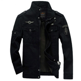 Wholesale mens military cotton jacket - Men Military Army jackets plus size 6XL Hot cost outerwear embroidery mens jacket for aeronautica militare